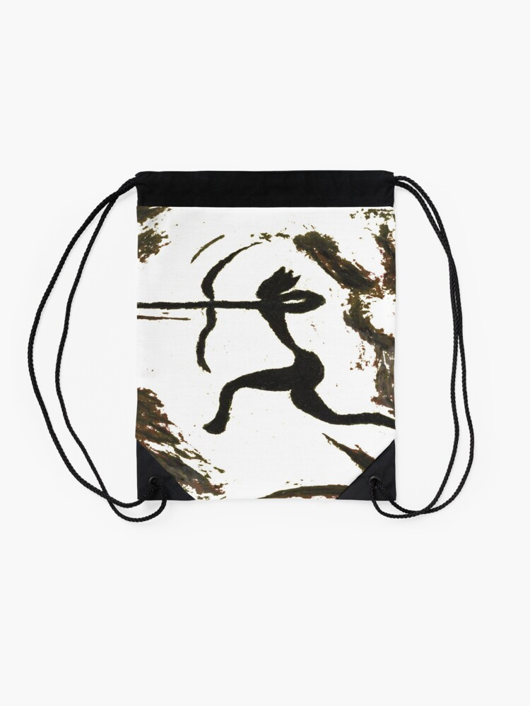 Alternate view of painting, art, outdoors, tree, one, illustration, water, bird, no people, pattern, square, animal, day Drawstring Bag