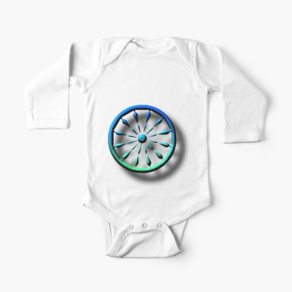 blue, circle, symbol, shape, design, illustration, art, turquoise colored, green color, direction, separation, glass - material, navigational compass, square Long Sleeve Baby One-Piece
