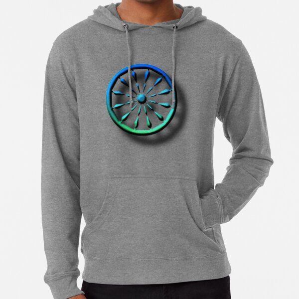 blue, circle, symbol, shape, design, illustration, art, turquoise colored, green color, direction, separation, glass - material, navigational compass, square Lightweight Hoodie