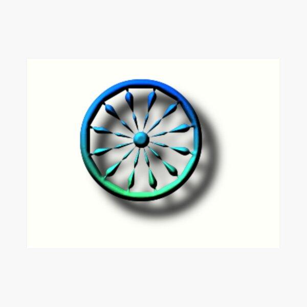 blue, circle, symbol, shape, design, illustration, art, turquoise colored, green color, direction, separation, glass - material, navigational compass, square Art Print