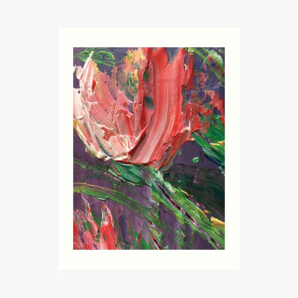 Abstract Floral Pink Tulips Art Print
