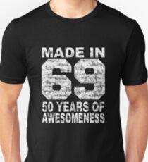 Made In 69 50 Years Of Awesomeness 1969 Birthday Vintage Slim Fit T-Shirt