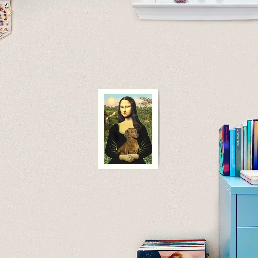 Mona Lisa and her Dachshund (brown/red) Art Print