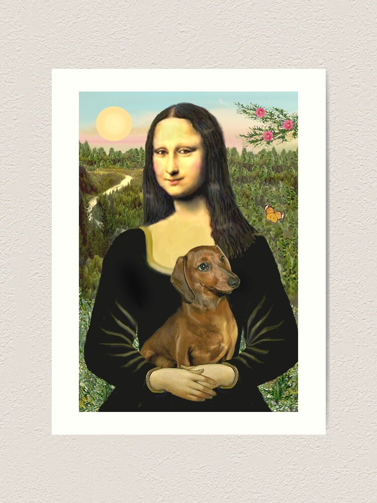 Alternate view of Mona Lisa and her Dachshund (brown/red) Art Print