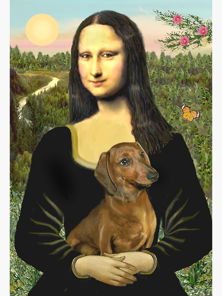 Mona Lisa and her Dachshund (brown/red) by JeanBFitzgerald