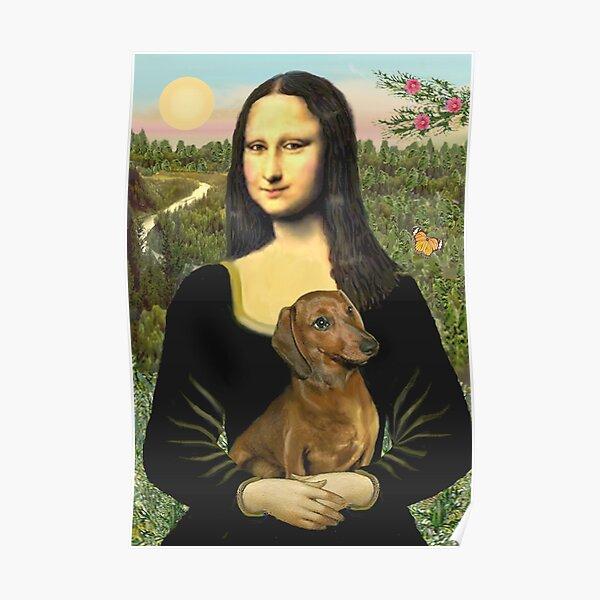 Mona Lisa und ihr Dackel (braun / rot) Poster