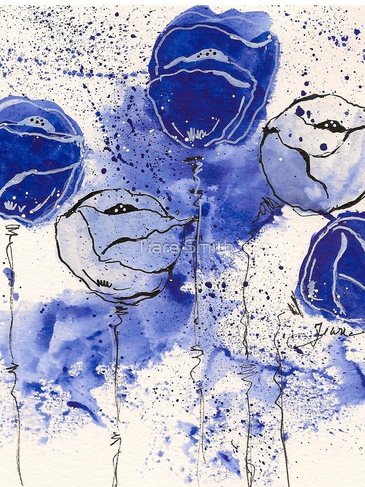Blue and White Splotch Flowers by classygirl