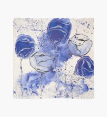 Blue and White Splotch Flowers Scarf