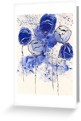 Blue and White Splotch Flowers by Tiare Smith