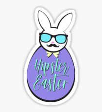 Hipster Easter Egg Bunny Sticker