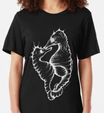 Seahorses (White) Slim Fit T-Shirt
