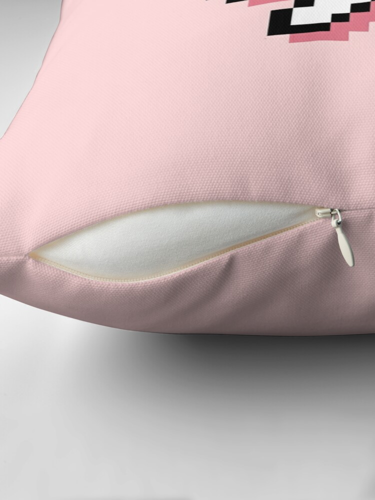 Alternate view of Hey! - Pixel Speech Bubble - (Pink) Throw Pillow