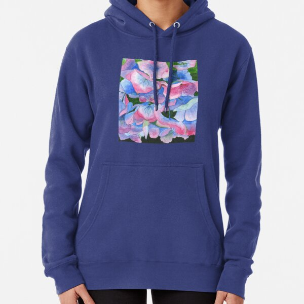 Pink and blue hydrangea watercolour painting Pullover Hoodie