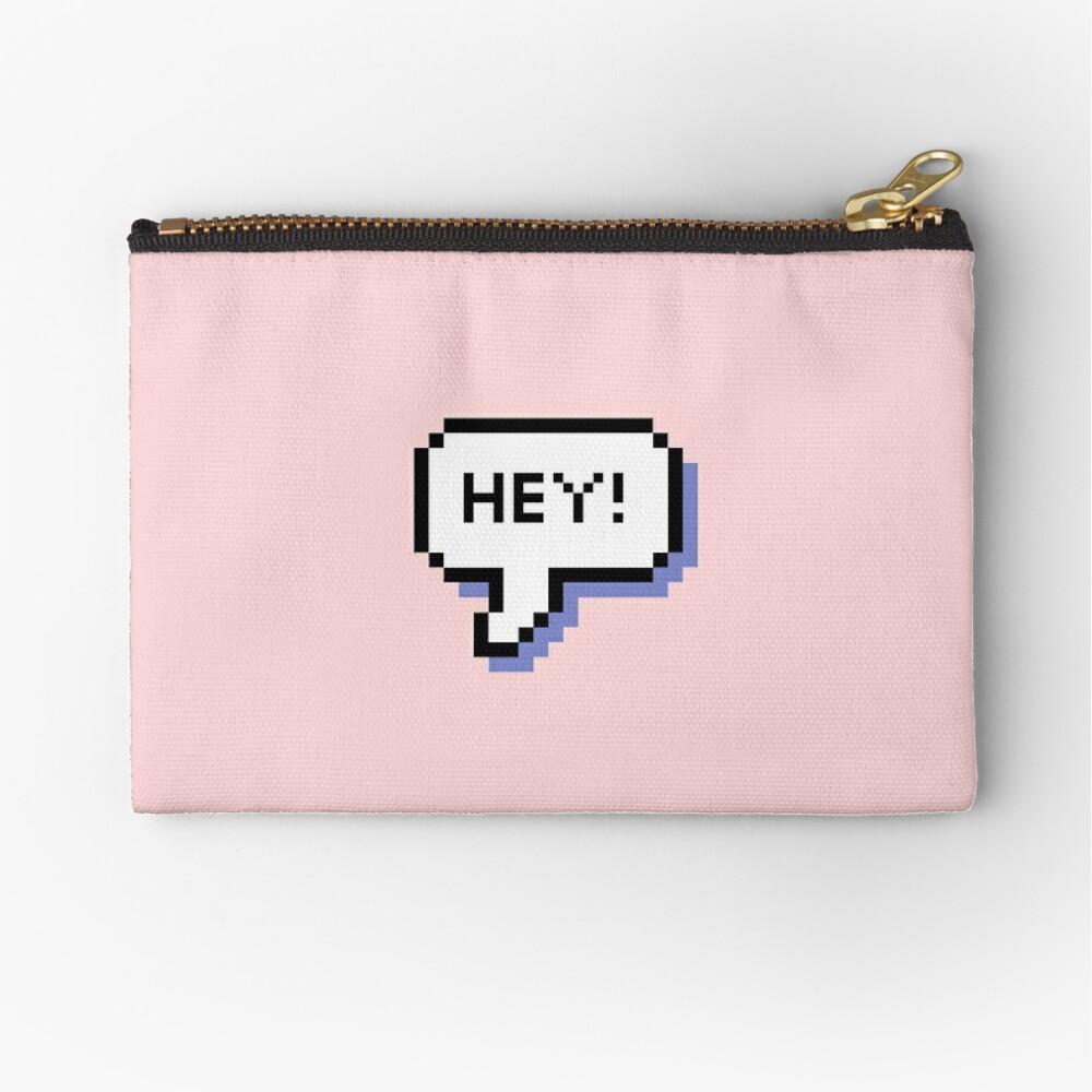 Hey! - Pixel Speech Bubble - (Mixed) Zipper Pouch