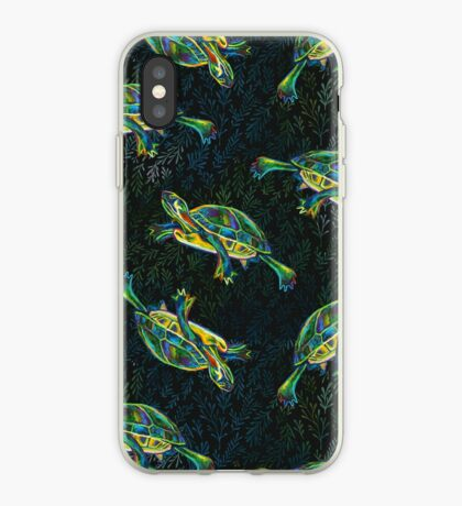 Slider Turtle and Leaves Pattern by Robert Phelps iPhone Case
