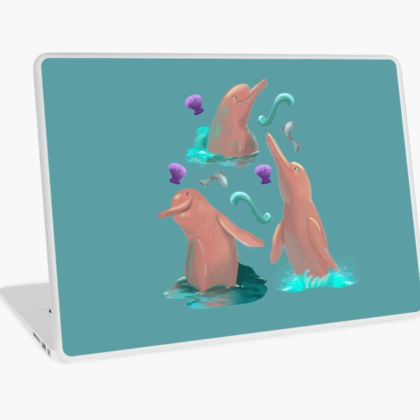 Sticker Pack of cute pink dolphins Laptop Skin