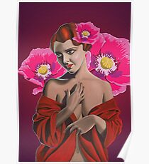 demure woman with pink poppies Poster