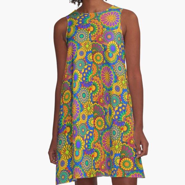 Psychadelic Hippie Flower Power Design A-Line Dress