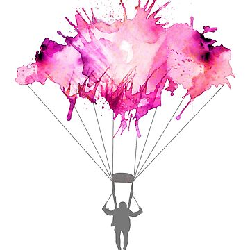 Skydiver Skydiving Gift - Pink Sky Dive Parachuter Illustration  by STYLESYNDIKAT
