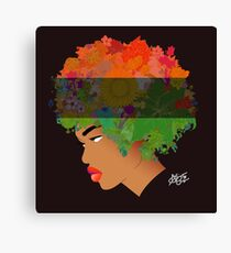Pan-African Flag Flower 'Fro ver. 3 Canvas Print