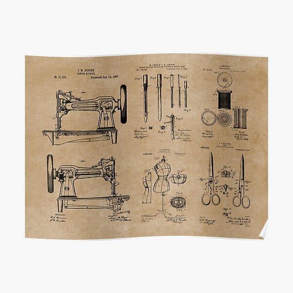 Vintage Dressmaker Sewing Patent Prints Poster