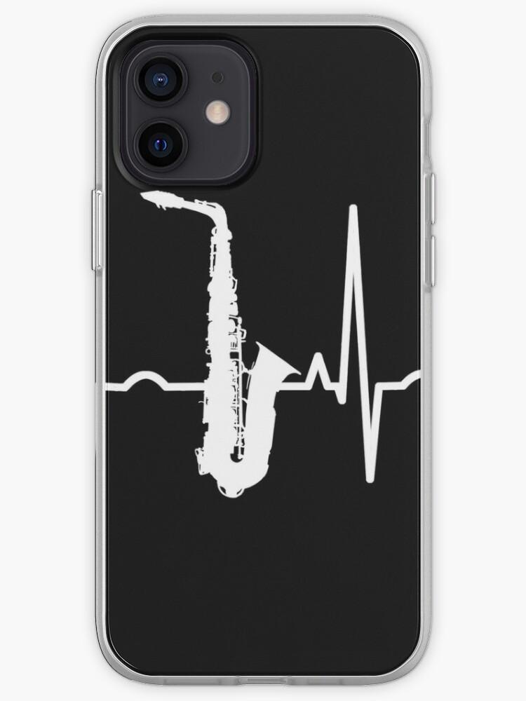 Joueur de saxophone Jazz Music Sax Play Heartbeat   Coque iPhone