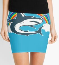 Unicorn Shark With Rainbow T Shirt Mini Skirt