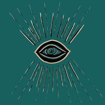 Evil Eye Gold Black on Teal #1 #drawing #decor #art by anitabellajantz