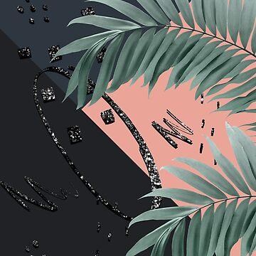 Night Palms Cali Vibes Abstract Glitter Glam #3 #tropical #decor #art  by anitabellajantz