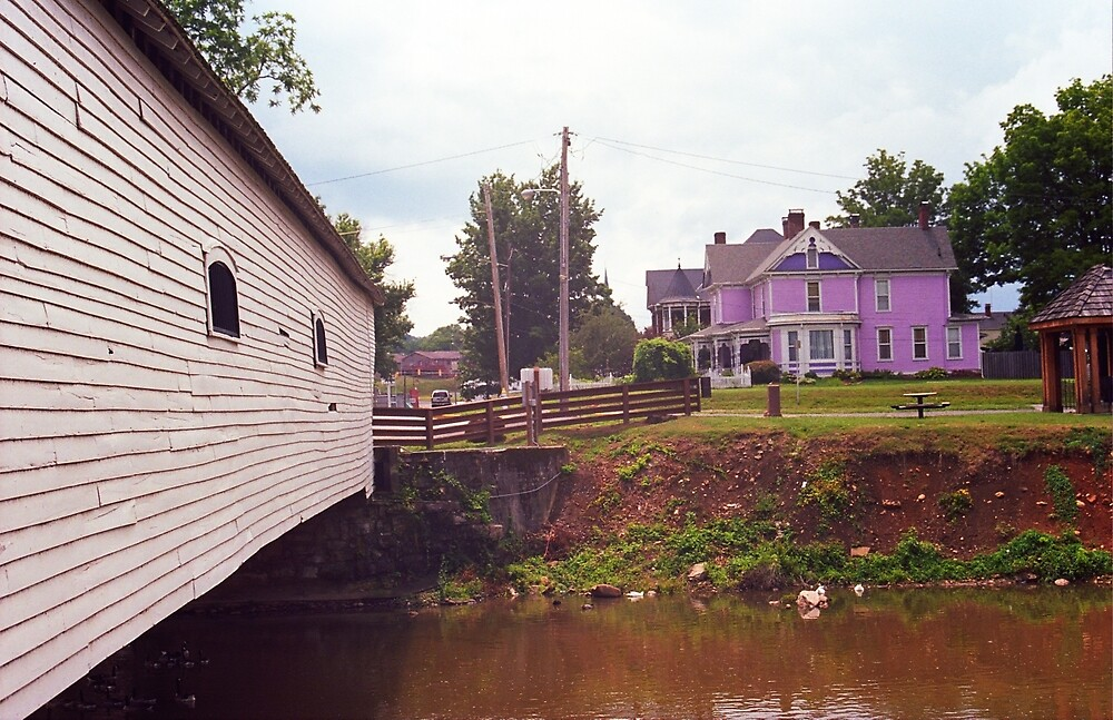 Elizabethton, TN, Covered Bridge and Mansion, 2008 by Frank Romeo