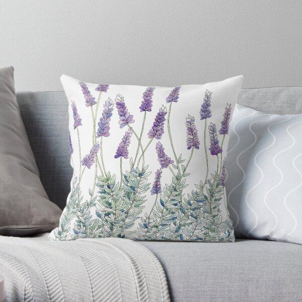 Lavender, Illustration Throw Pillow