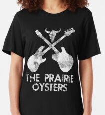 THE PRAIRIE OYSTERS BAND LOGO (WHITE FOR DARK COLOURS) Slim Fit T-Shirt