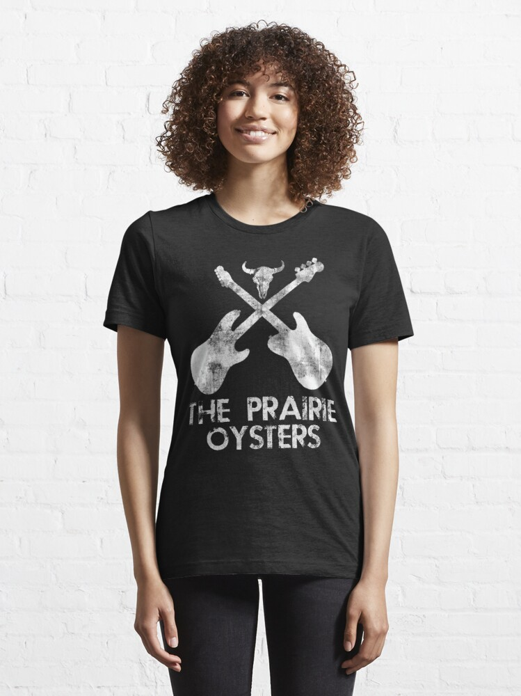 Alternate view of THE PRAIRIE OYSTERS BAND LOGO (WHITE FOR DARK COLOURS) Essential T-Shirt