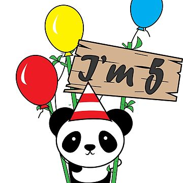 Cute cartoon panda 5th birthday gift  by handcraftline