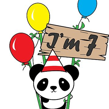Cute cartoon panda 7th birthday gift  by handcraftline