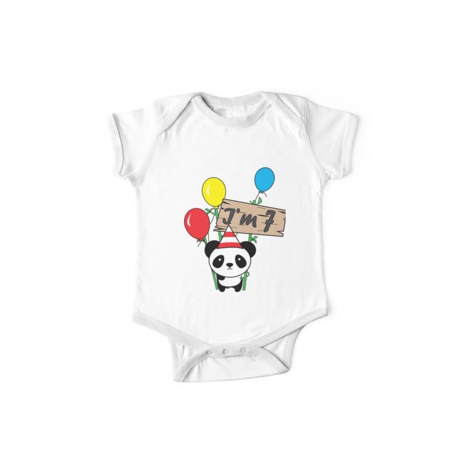 Cute cartoon panda 7th birthday gift  by handcraftline