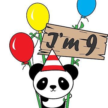 Cute cartoon panda 9th birthday gift  by handcraftline