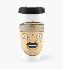 coffee donut man 90s nineties cartoon head drawing  Travel Mug