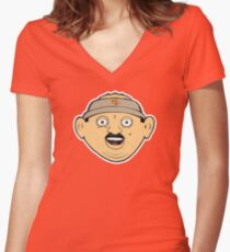 coffee donut man 90s nineties cartoon head drawing  Fitted V-Neck T-Shirt