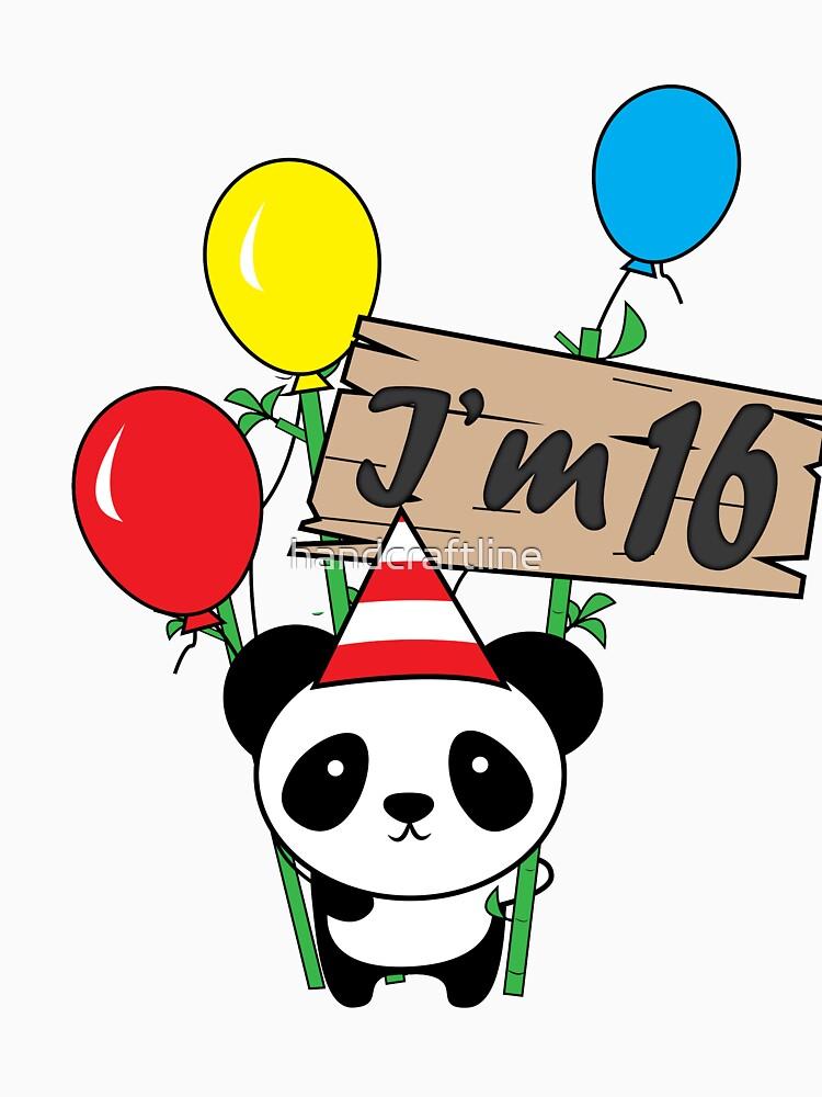 Cute cartoon panda 16th birthday gift  by handcraftline
