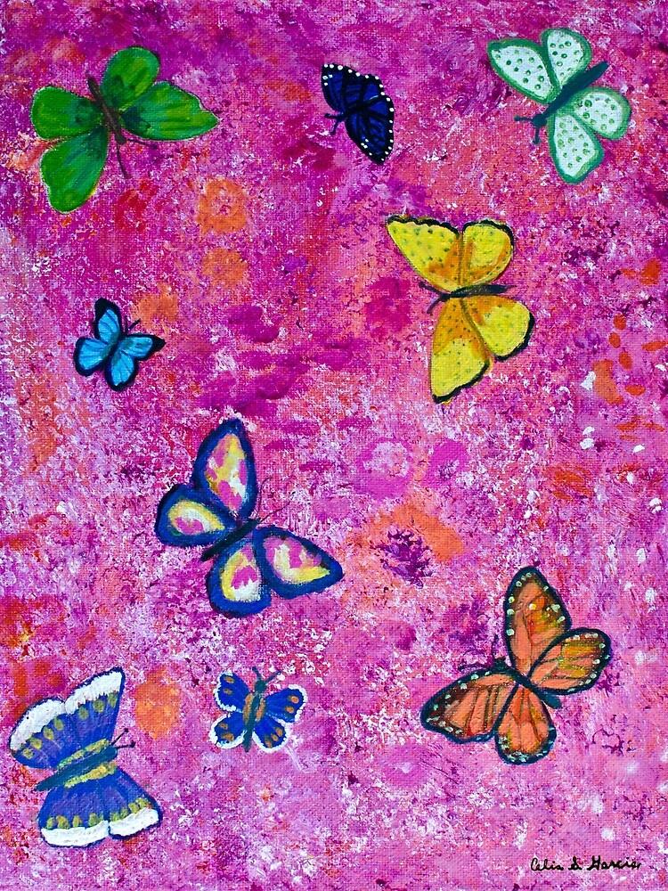 Butterflies On Pink Canvas by CeliaSGarciaArt