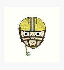 football head sweating cartoon man  Art Print