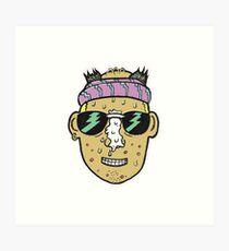 80s Surfer Lifeguard Sunscreen Dude Illustration Head Eighties Art Print