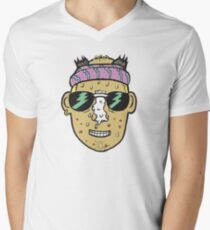 80s Surfer Lifeguard Sunscreen Dude Illustration Head Eighties V-Neck T-Shirt