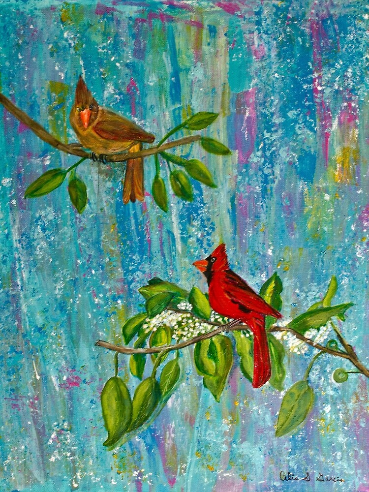 Cardinals On Branch by CeliaSGarciaArt