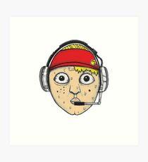 Fast Food Worker Illustration Cartoon Head Wearing a Headset Art Print
