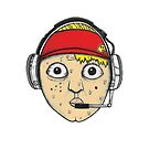 Fast Food Worker Illustration Cartoon Head Wearing a Headset by JustNukeIt