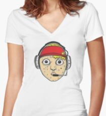 Fast Food Worker Illustration Cartoon Head Wearing a Headset Fitted V-Neck T-Shirt