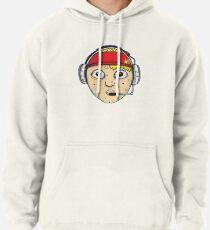 Fast Food Worker Illustration Cartoon Head Wearing a Headset Pullover Hoodie