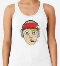 Fast Food Worker Illustration Cartoon Head Wearing a Headset Racerback Tank Top